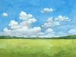 Leinwandbild Motiv Watercolor illustration of rural landscape