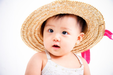 Adorable Asain little girl posing with a big hat