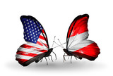 Two butterflies with flags USA and Austria