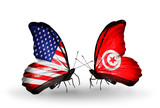 Two butterflies with flags USA and Tunisia