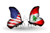 Two butterflies with flags USA and Lebanon