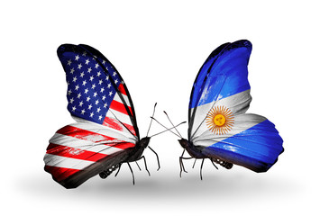 Two butterflies with flags  USA and Argentina