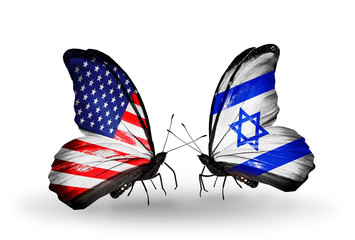 Two butterflies with flags  USA and Israel