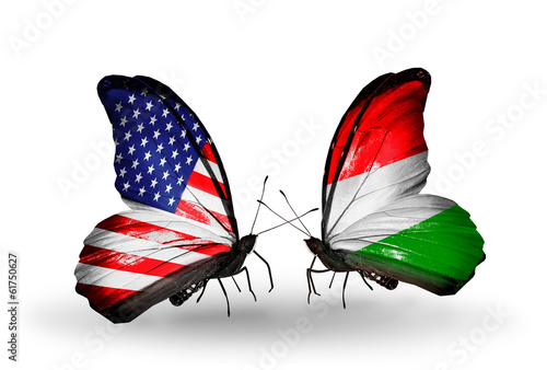 Two butterflies with flags  USA and Hungary
