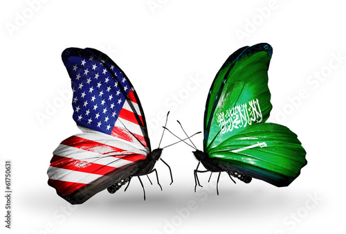 Two butterflies with flags  USA and Saudi Arabia