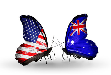 Two butterflies with flags USA and Australia