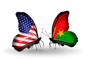 Two butterflies with flags USA and Burkina Faso