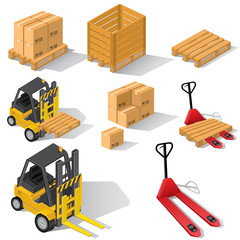 Forklifts with pallets and boxes