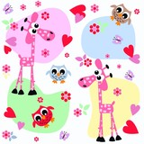 animals flowers love background seamless