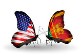 Two butterflies with flags USA and Sri Lanka