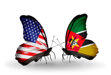 Two butterflies with flags USA and Mozambique