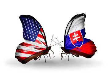 Two butterflies with flags USA and Slovakia