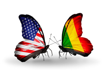 Two butterflies with flags USA and Mali