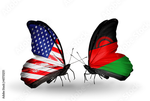 Two butterflies with flags USA and Malawi