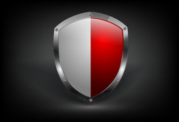 vector bi-coloredl shield with metallic border