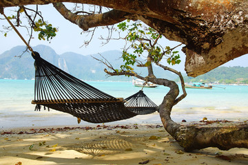 Seascape with hammock .