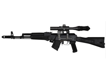 Assault rifle with riflescope left side view isolated on white