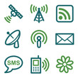 Communication web icons, green line set