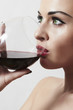 Beautiful Blond Woman Drink Red Wine.Make-up.red lips