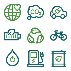 Eco web icons, green line set