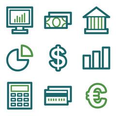 Finance web icons, green line set