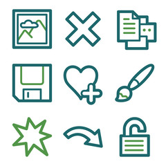 Image viewer web icons, green line set