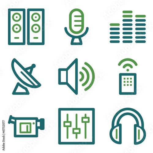 Media web icons, green line set