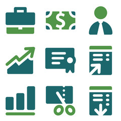 Finance web icons, green mix set