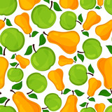Seamless pattern of pears and apple.