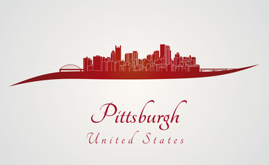 Pittsburgh skyline in red