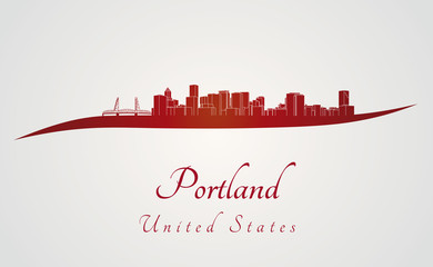 Portland skyline in red