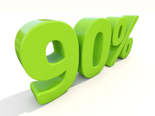 90% percentage rate icon on a white background