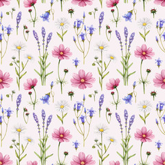 Wild flowers illustration. Watercolor seamless pattern