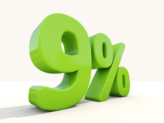 9% percentage rate icon on a white background