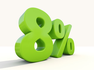 8% percentage rate icon on a white background