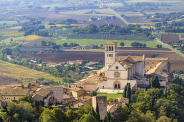 Basilica of St Francis seen from above, Assisi, Italy