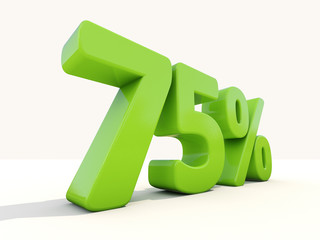 75% percentage rate icon on a white background