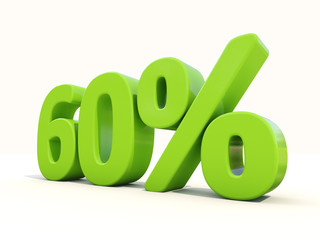 60% percentage rate icon on a white background