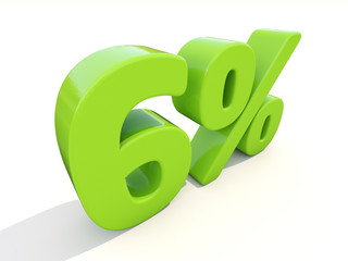 6% percentage rate icon on a white background