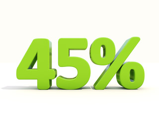 45% percentage rate icon on a white background