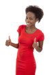 Lachende afro amerikanische Frau mit Thumbs up isoliert