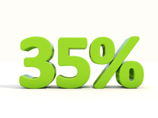 35% percentage rate icon on a white background