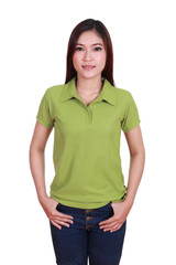 young beautiful female with blank polo shirt