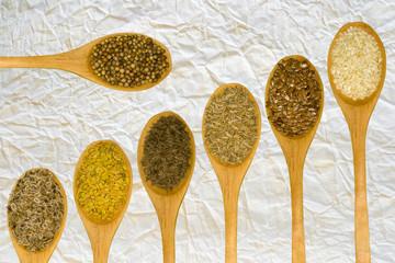 Set of spices on white leaf