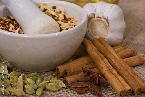 Still life: Pounder and Spices
