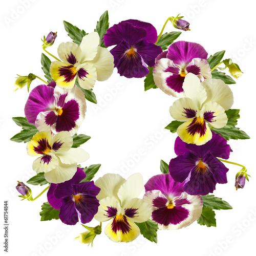 Fotobehang Pansies Flowers wreath.