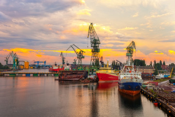 Shipyard at sunset in Gdansk, Poland.