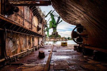 On the dry dock in shipyard Gdansk, Poland.