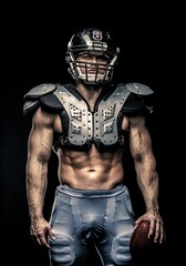 American football player  wearing helmet and armour