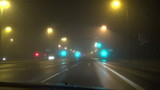 road in thick fog morning blurred motion